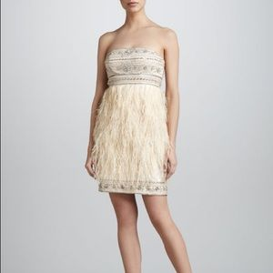 SUE WONG | Strapless beaded/feather cocktail dress